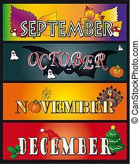 9 月, 12月, 11 月, 10 月