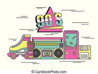 90s, 立方体, 装置, ゲーム, スケート, ビデオ, rubik, おもちゃ, テープレコーダー, tamagotchi, ローラー