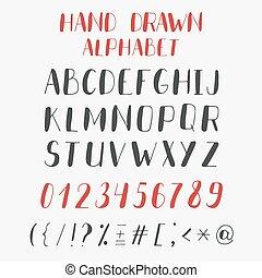 abc, 手紙, アルファベット, 手, numbers., ベクトル, 引かれる