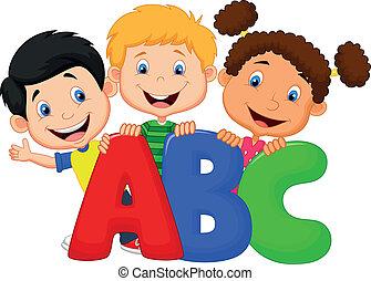 abc, 漫画, 子供, 学校