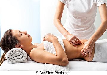 abdomen., マッサージセラピスト, 治癒, 女性