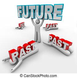accepts, を過ぎて, スタックした, 未来, 変化しなさい, 他, リーダー, ビジョン