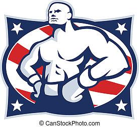 akimbo, アメリカ人, ボクサー, チャンピオン, レトロ