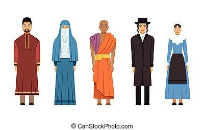 amich, カトリック教, 司祭, mormon, 人々, ベクトル, 神道, 牧師, イラスト, mennonite, コレクション, 衣服, 特徴, 女性, ∥あるいは∥, 伝統的である, 宗教