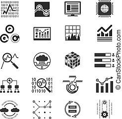 analytic, アイコン, シルエット, データ