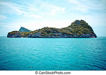 ang-thong, 岩が多い, 島公園, タイ, 海洋