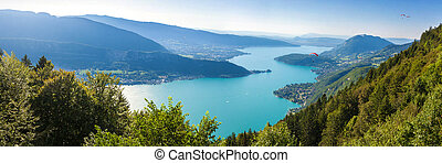 annecy, パノラマである, 湖, 光景