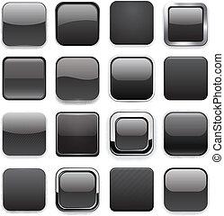 app, 広場, 黒, icons.