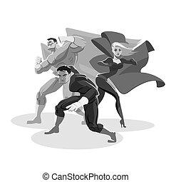 around., 用意, superhero, 見なさい, team., 立ちなさい