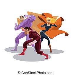 around., superhero, 見なさい, team., 立ちなさい, readiness.