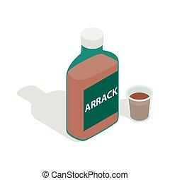 arrack, 等大, スタイル, びん, アイコン, 3d