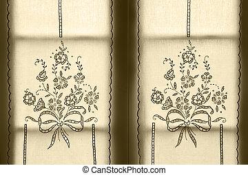 azores., ポルトガル, pattern., 刺しゅうされた, 伝統的である, 窓, 花, カーテン