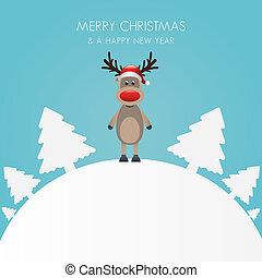 b, 木, トナカイ, 白い帽子, クリスマス