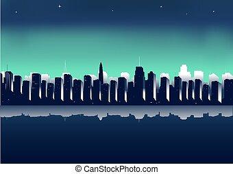 backg, 都市, 夜, イラスト