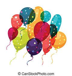 balloons., カラードの背景, 休日, 光沢がある, 祝福
