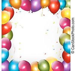 balloons., 休日, 背景, カラフルである, vector.