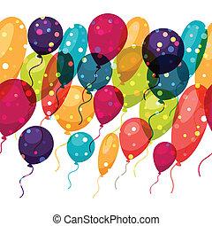balloons., 有色人種, パターン, seamless, 休日, 光沢がある