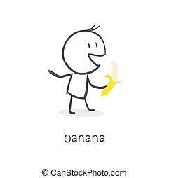 banana., 食べる, 人