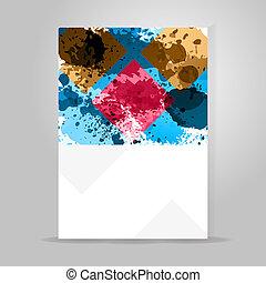 banner., 幾何学的, カラフルである, waterdrop, 色, はね返し, ペンキ, illustration., 概念, デザイン, インク