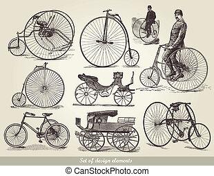 bicycles, セット, 古い