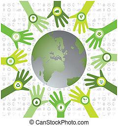 bio, セット, アイコン, パターン, 環境, 緑, 手, waiving, 世界, 円, 支持できる, 満たされた