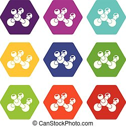 bio, セット, アイコン, 分子, ベクトル, 9