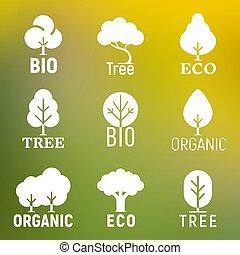 bio, セット, 有機体である, eco, 木, ベクトル, ロゴ, 白