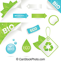 bio, ラベル, エコロジー, アイコン