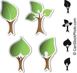 bio, 木, -, シンボル, ベクトル, ステッカー