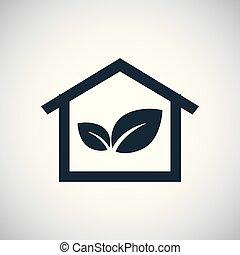 bio, 概念, 平ら, 単純である, 要素, デザイン, 家, アイコン