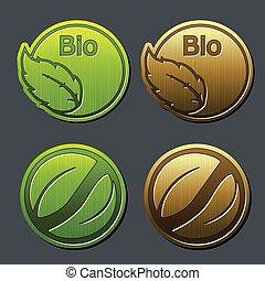 bio, 自然, ラベル, -, 葉, ステッカー