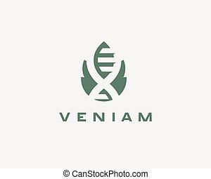 bio, 葉, 科学, 抽象的, logotype, エネルギー, ベクトル, 緑, 薬, ロゴ, dna, icon., 技術, design.