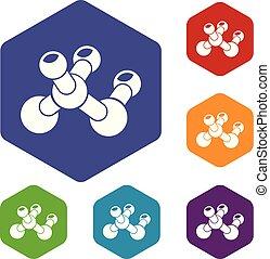 bio, hexahedron, ベクトル, 分子, アイコン
