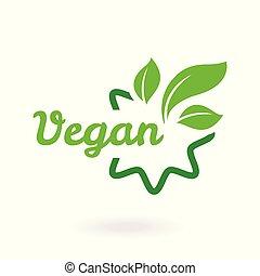 bio, tag., 自然, ロゴ, アイコン, 抽象的, バックグラウンド。, エコロジー, セット, 葉, 緑の白, vegan, 有機体である, ラベル