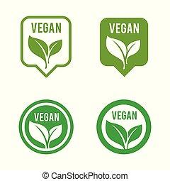 bio, vegan, アイコン, tag., set., エコロジー, 有機体である, ロゴ, アイコン, ラベル