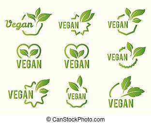 bio, vegan, 白, バックグラウンド。, set., tag., エコロジー, 有機体である, 緑, ロゴ, アイコン, バッジ, イラスト, 葉, ラベル, ベクトル