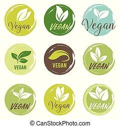 bio, vegan, 白, バックグラウンド。, set., tag., エコロジー, 有機体である, 緑, ロゴ, アイコン, バッジ, 葉, ラベル
