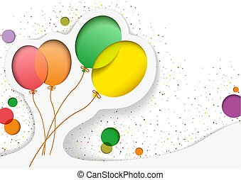 birthday, 風船, カード