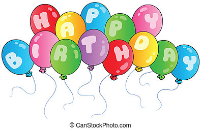 birthday, 風船, 幸せ