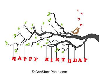 birthday, 鳥, カード, 幸せ