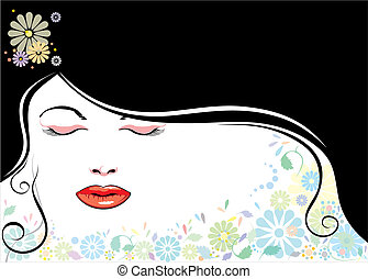 blackhair, 顔, 花