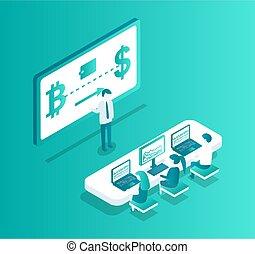 blockchain, ベクトル, ミーティング, セミナー, イラスト