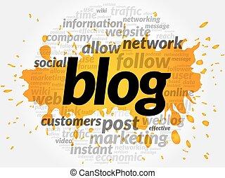 blog, 概念, 単語, 雲