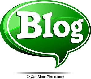 blog, 緑, スピーチ泡