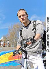 bmx, ライダー, skatepark, 肖像画, 背景, 都市, 自転車