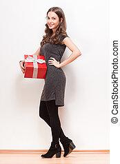 box., 贈り物, 若い女性, ブルネット, 素晴らしい