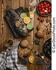 bread, 分類される, 木製である, fish, シーフード, テーブル, 白, 光景, 焼かれた, 上, トマト, ワイン
