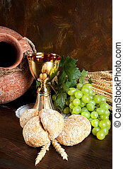 bread, 聖餐, 水差し, ワイン