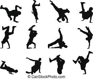 break-dance, セット, シルエット