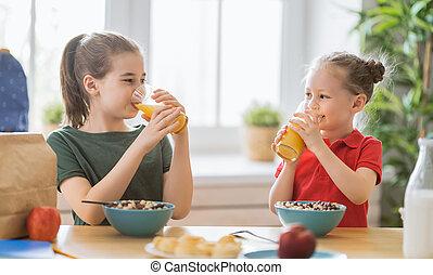 breakfast., 幸せ, 持つこと, 子供